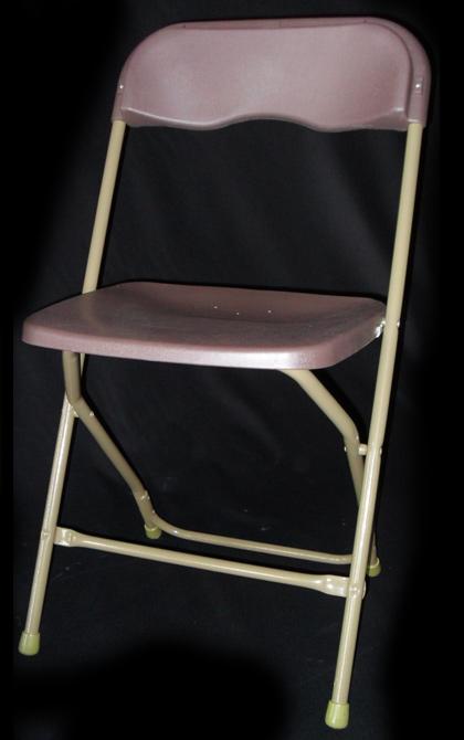Brown Plastic W/ Tan Metal Frame Folding Chairs